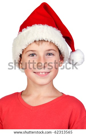 Adorable child with Santa Hat isolated on white background - stock photo