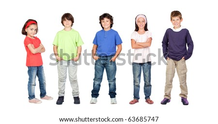Adorable children, two girls and three boys isolated on a over white background - stock photo
