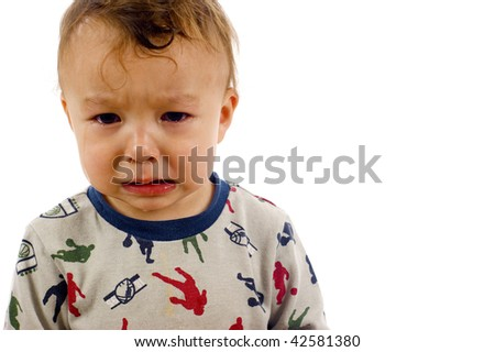 Adorable, Crying Asian / Caucasian Baby Boy a lot of Copyspace - Isolated over a white background - stock photo