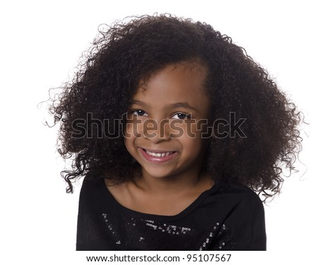Adorable cute little girl with curly hair - stock photo