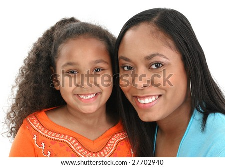 Adorable five year old African American Girl and Mom. - stock photo