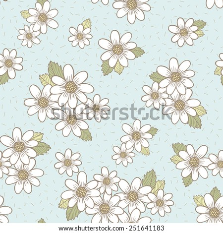 adorable flower seamless pattern over blue background - stock photo
