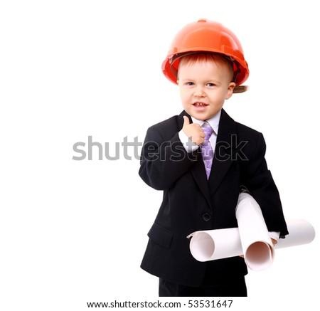 Adorable future architect over a white background - stock photo