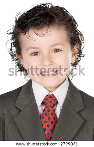 adorable future businessman a over white background - stock photo