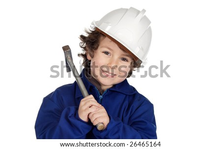 Adorable future worker with a hammer and a helmet on a over white background - stock photo