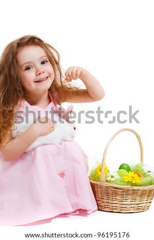Adorable girl holding white bunny, over white - stock photo