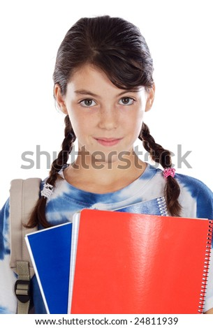 Adorable girl studying on a over white background - stock photo