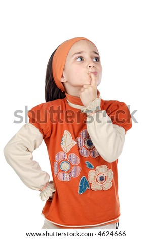 Adorable girl thinking a over white background - stock photo