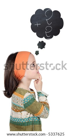Adorable girl thinking in numbers a over white background - stock photo