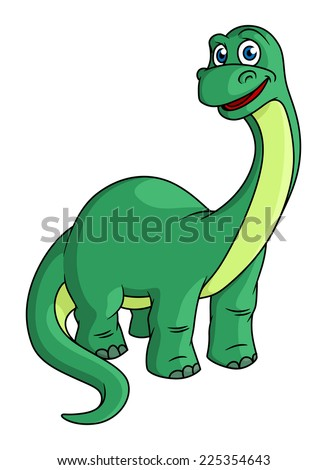 Adorable green cartoon dinosaur mascot with a long neck and tail, isolated on white - stock photo