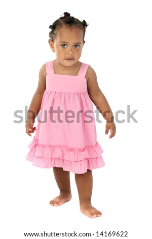 adorable happy baby a over white background - stock photo