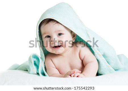 Adorable happy baby in towel - stock photo