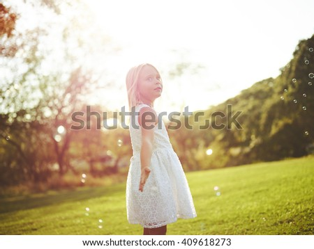 Adorable happy free young girl - stock photo