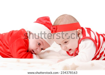 adorable little baby on christmas isolated in white background - stock photo