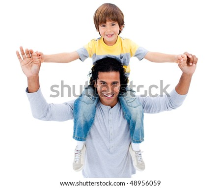 Adorable little boy having fun with his father against a white background - stock photo