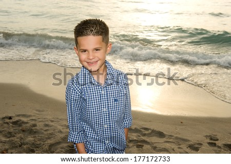Adorable little brunette boy smiling at the beach  - stock photo