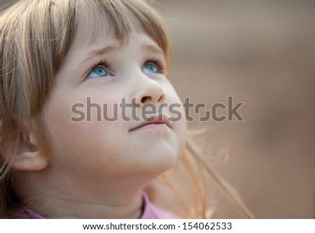 Adorable little girl - closeup portrait - stock photo