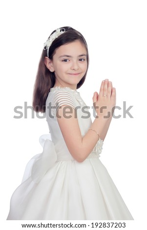 Adorable little girl dressed in communion isolated on white background - stock photo
