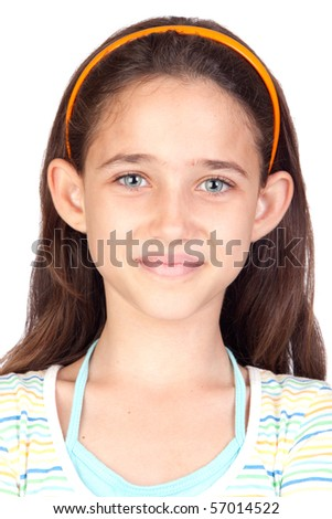 Adorable little girl with blue eyes isolated on white background - stock photo