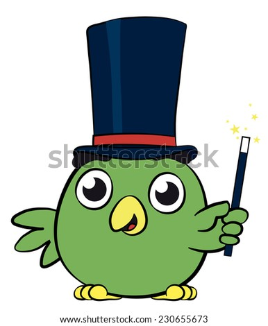 Adorable little green bird magician cartoon character waving its magic wand as its casts spells, creates illusion and performs tricks, illustration on white - stock photo