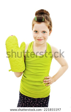 Adorable little housewife with oven mittens. Isolated on white background - stock photo