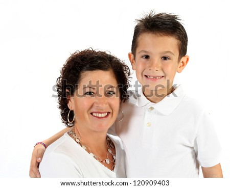 Adorable mother and son for mothers day on white background - stock photo