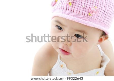 Adorable pan asian baby girl on white background - stock photo