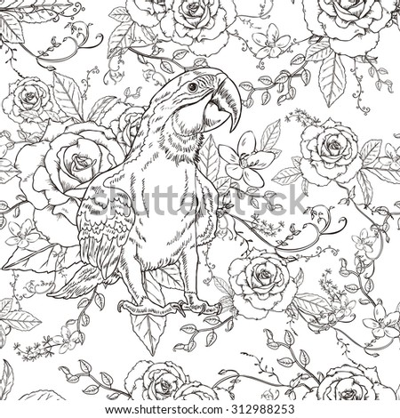 adorable parrot coloring page in exquisite style - stock photo