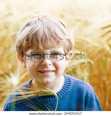 Adorable preschooler kid boy with glasses walking happily in wheat field on warm and sunny summer day - stock photo