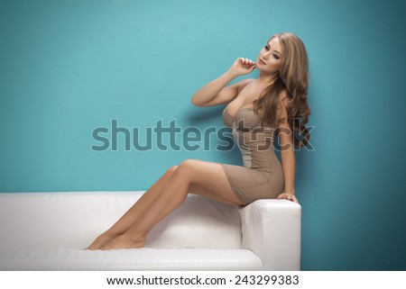 Adorable sexy shapely blond woman in lingerie posing on sofa - stock photo
