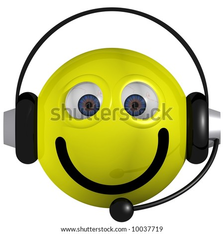 Adorable smiley wearing a headset isolated on white - stock photo