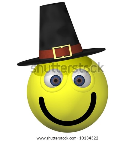 Adorable smiley wearing a pilgrim hat isolated on white - stock photo