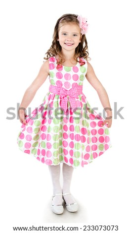Adorable smiling little girl in pink princess dress isolated on white - stock photo