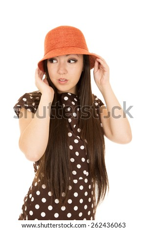Adorable teen girl wearing polka dot dress - stock photo