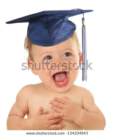 Adorable ten month old baby wearing a graduation mortar board. - stock photo