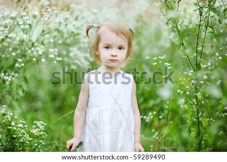 Adorable toddler girl standing in a meadow - stock photo