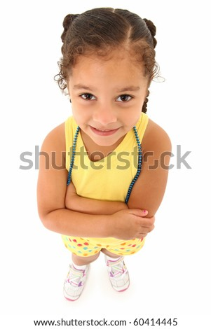 Adorable 3 year old hispanic african american girl standing over white background top view. - stock photo