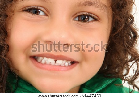 Adorable 3 year old hispanic american girl close up smiling. - stock photo