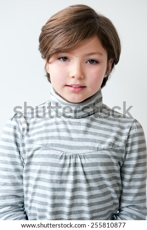 Adorable 8 years old girl portrait - stock photo
