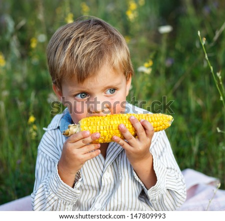 Adorable young boy eating corn on the cob - stock photo