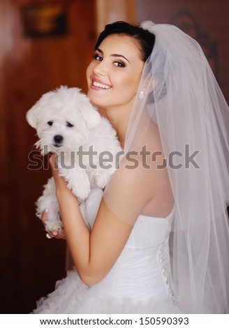 adorable young bride with a tiny dog at home - stock photo