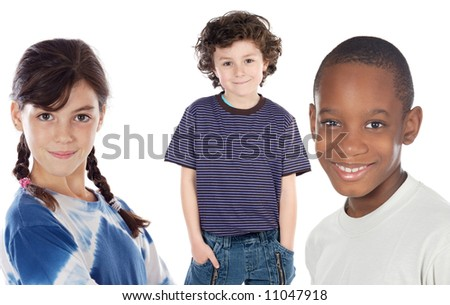 adorables children - a over white background - - stock photo