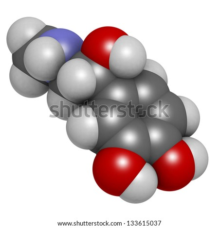 Adrenaline (epinephrine) hormone and neurotransmitter, molecular model. Atoms are represented as spheres with conventional color coding: hydrogen (white), carbon (grey), oxygen (red), nitrogen (blue) - stock photo