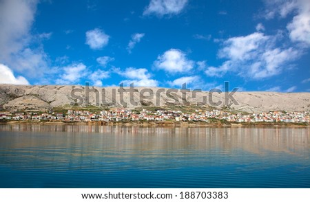 Adriatic landscape. view from the sea coast - stock photo