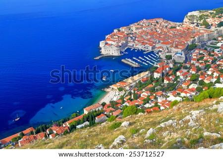 Adriatic sea coastline and the old town of Dubrovnik, Croatia - stock photo