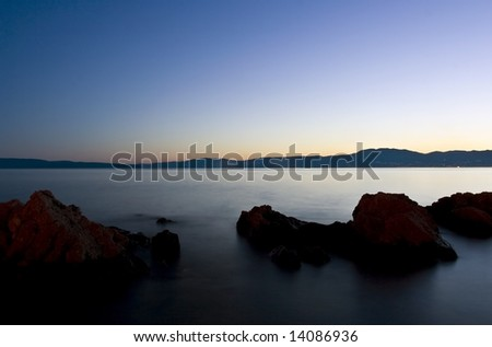 Adriatic sea night scene, Kvarner, Croatia - stock photo