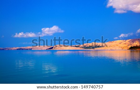 Adriatic sea shore on Pag, Croatia - stock photo