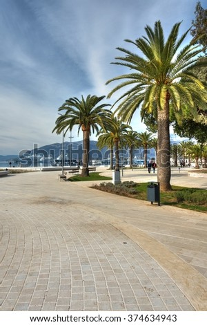Adriatic sea sidewalk with palm trees and beautiful sky. HDR photography. - stock photo