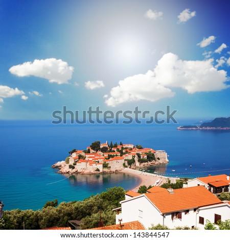 Adriatic Sea, small islet and resort - St. Stefan, Montenegro, Europe - stock photo
