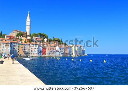 Adriatic sea surrounding the old Venetian town of Rovinj, Croatia - stock photo